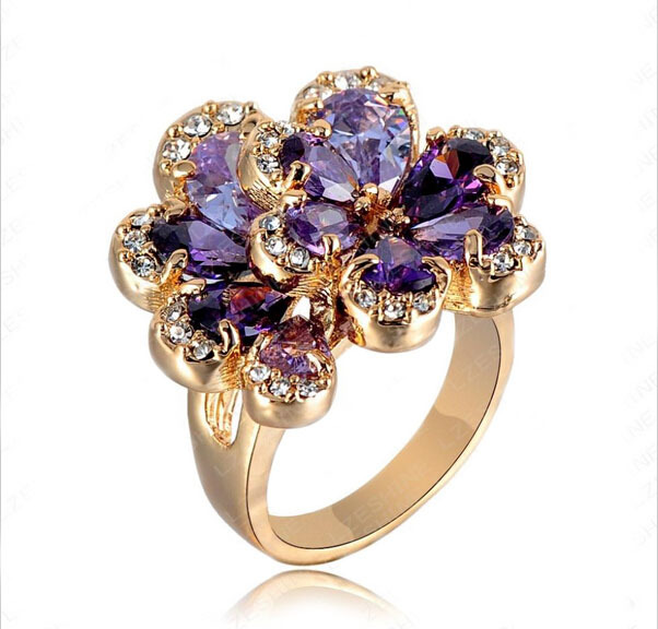 Fashion New Women Rings Rose Gold Color Flower Ring With Purple Austrian Crystal
