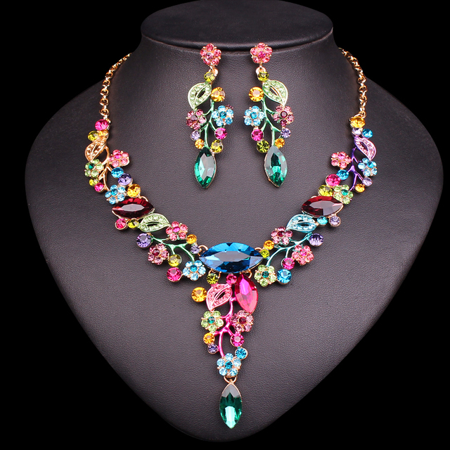 Fashion Leaves Flowers Bridal Jewelry Sets Wedding Necklace Earrings sets for Brides Women's Party Costume Crystal Jewellery
