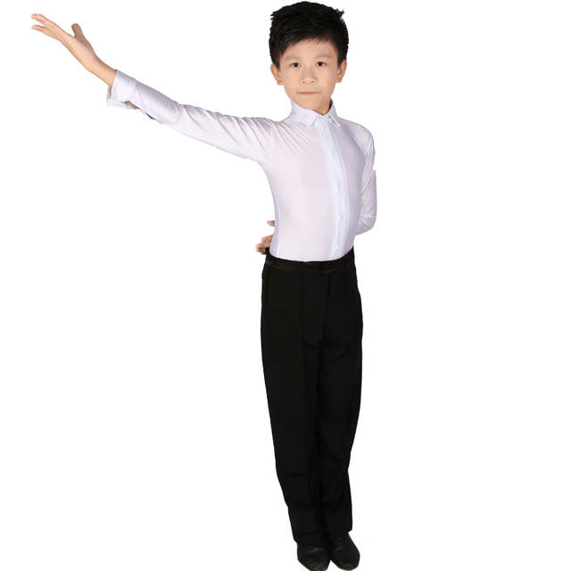 5b1a7efbf Online Shop White Boys Latin Dance Costumes Shiny Spandex Modern ...