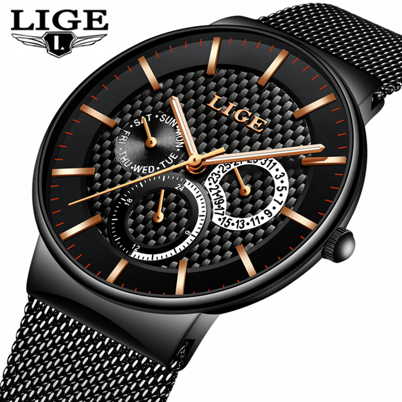 LIGE Fashion Mens Watches Top Brand Luxury Quartz Watch Men Casual Slim Mesh Steel Date Waterproof Sport Watch Relogio Masculino