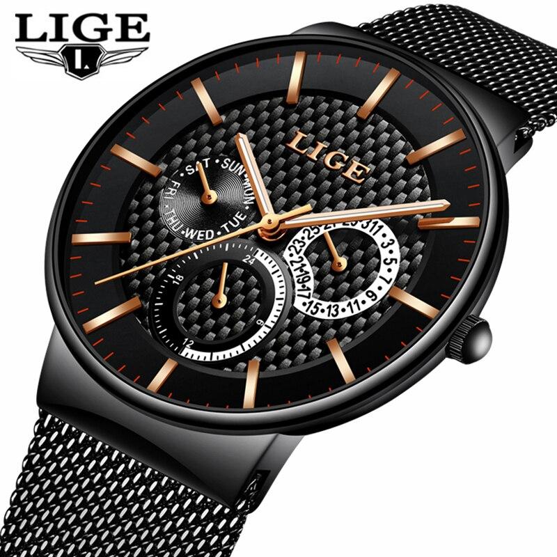 LIGE модные Для мужчин s часы лучший бренд класса люкс кварцевые часы Для мужчин Повседневное тонкая сетка Сталь Дата Водонепроницаемый спортивные часы Relogio masculino