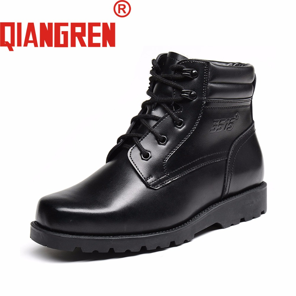 QIANGREN Military Quality Factory-direct Men's Winter Leather Wool Snow Boots Outdoors Rubber Tactical Botas Militar Super Warm new premium promotional yu europe d41x d341x flange rubber seal butterfly valves factory direct quality assurance