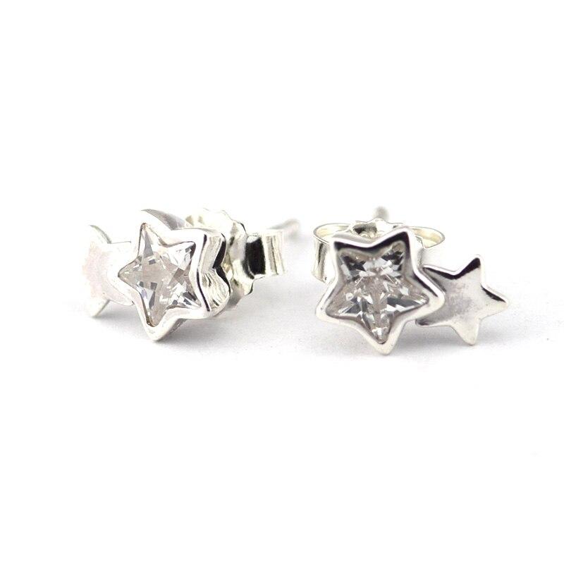 51c14c63b48d Starshine claro CZ Pendientes de broche 100% 925 mujeres de plata esterlina  pendiente hipoalergénicos Pendientes DIY joyería Accesorios