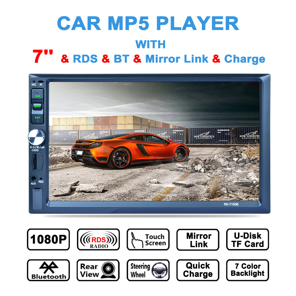 7 Inch 2Din Bluetooth Car MP5 Player Auto Multimedia Car Stereo Video Player AM / FM / RDS Radio Support Aux In Rear View Camera new 7 inch 2din bluetooth car radio video mp5 player auto radio fm 18 channel hd 1080p in dash remote control rear view camera