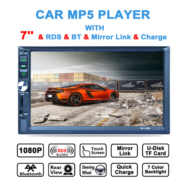 7 Inch 2Din Bluetooth Car MP5 Player Auto Multimedia Car Stereo Video Player AM / FM / RDS Radio Support Aux In Rear View Camera