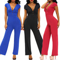New Arrivals 2016 Blue/Red Deep V Fitted Sexy Bodycon Jumpsuit Nightclub Backless Bandage jumpsuit monos largos de fiesta