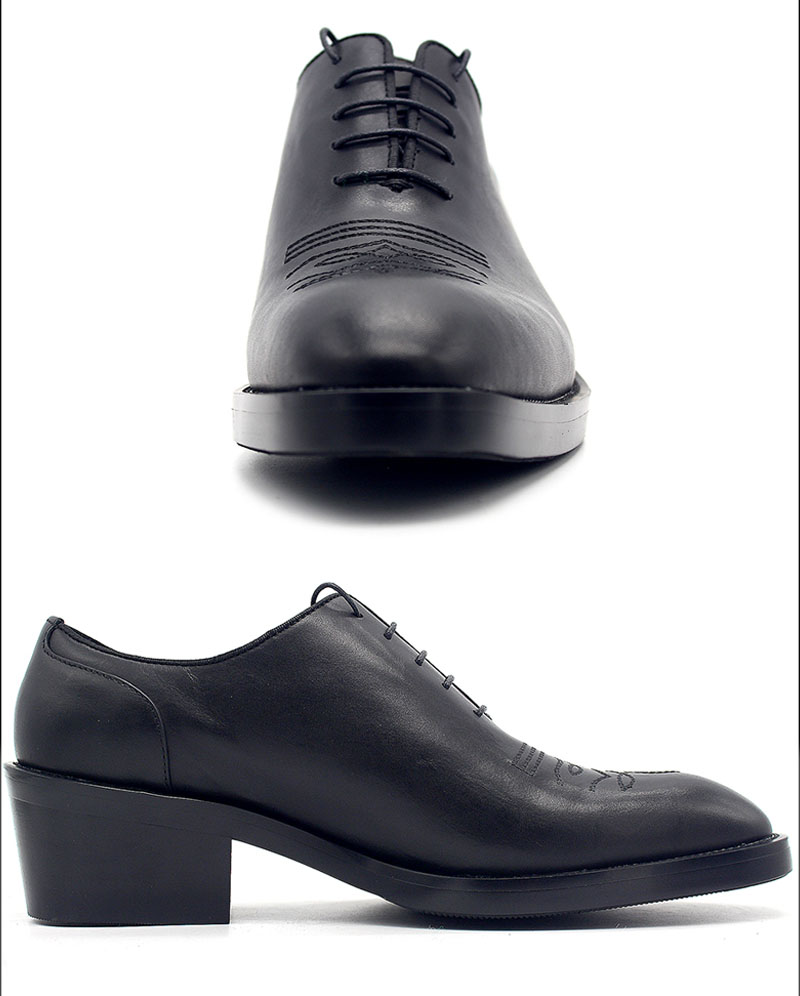 9ecf2873634 2018 Men High Heels Dress Shoes Fashion Increase Height 6cm Pointed Toe  Oxford Shoes for Men Luxury Black Derby Plus Size