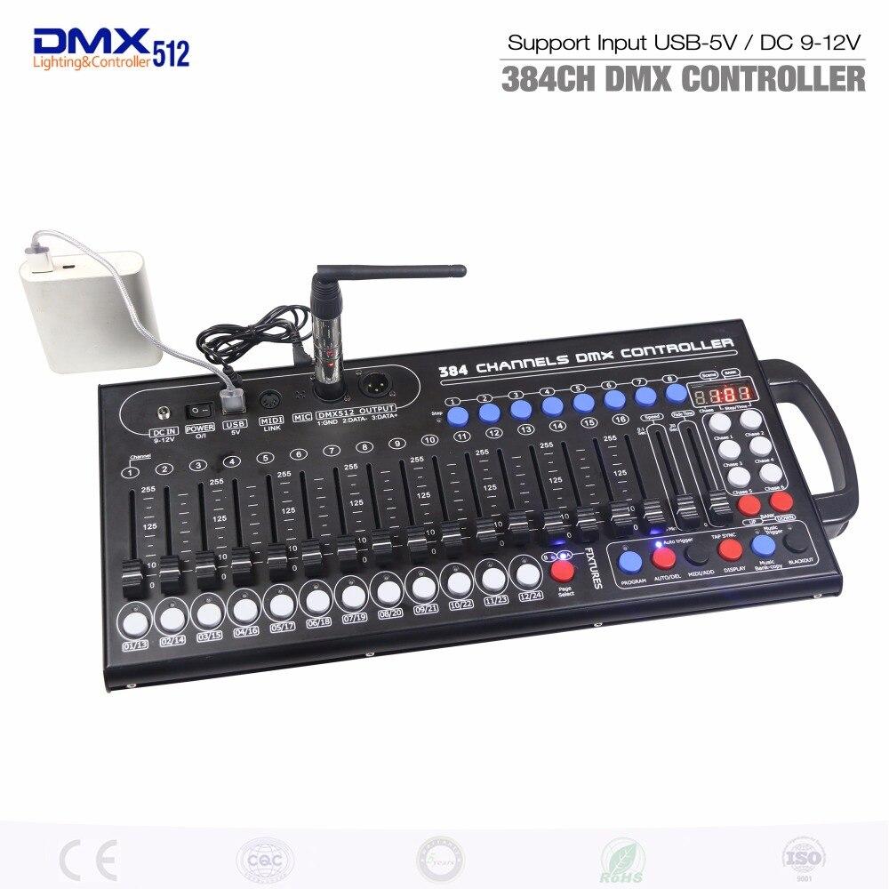 Nouvelle Console principale mobile Ultra-mince de contrôleur d'éclairage d'étape de LED de contrôle de 384ch DMX pour la lampe de rvb de mouvement de DJ KTV