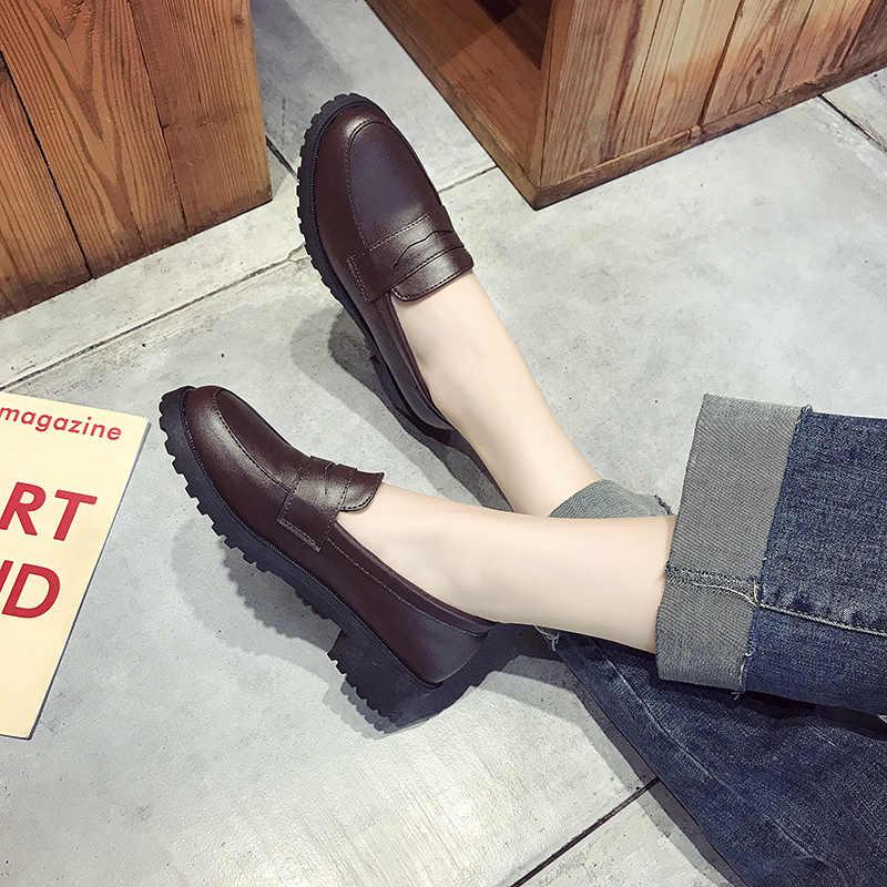 Yeni Sonbahar Kadın Ayakkabı Kadın Oxfords Slip Pu Deri rahat ayakkabılar Kadın Moda Artı Boyutu Yüksek Topuklu Platform Retro Ayakkabı