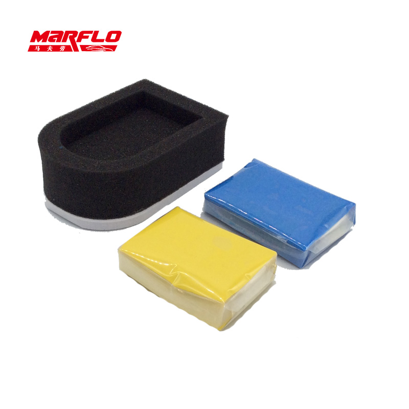 Barra de argila mágica de marflo 2 pces com aplicador de esponja azul amarelo limpeza automática detalhando barra de argila limpa por brilliatech