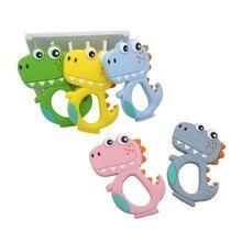 Chenkai 10PCS Silicone Dinosaur Teethers Baby Cute Cartoon Teething BPA Free For DIY Infant Dummy Sensory Pacifier Accessories