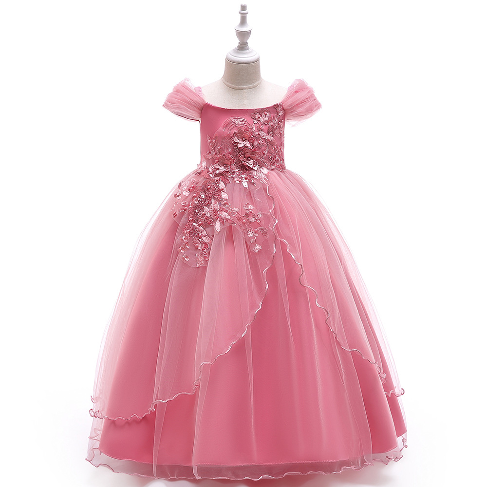 Long Tulle Girl Evening Dress Kids Ball Gown for Girls Beads Applique Fiori Paillettes Flower Girl Coral Dress