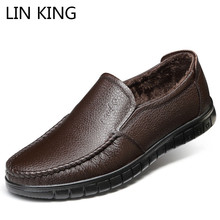 LIN KING Solid Genuine Leather Men Winter Casual Shoes Warm Plush Slip On Lazy Loafers Soft Shallow Man Office Work