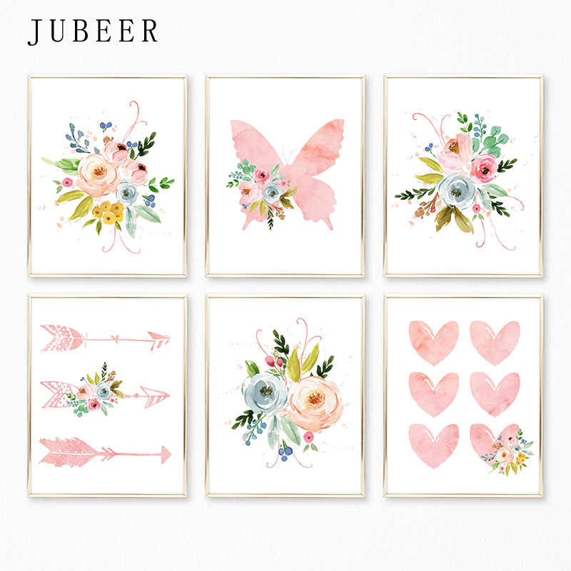 Watercolor Flower Canvas Painting Nursery Art Decor Girl Pink Heart Nursery Poster for Baby Room Kids Bedroom Decorative Picture