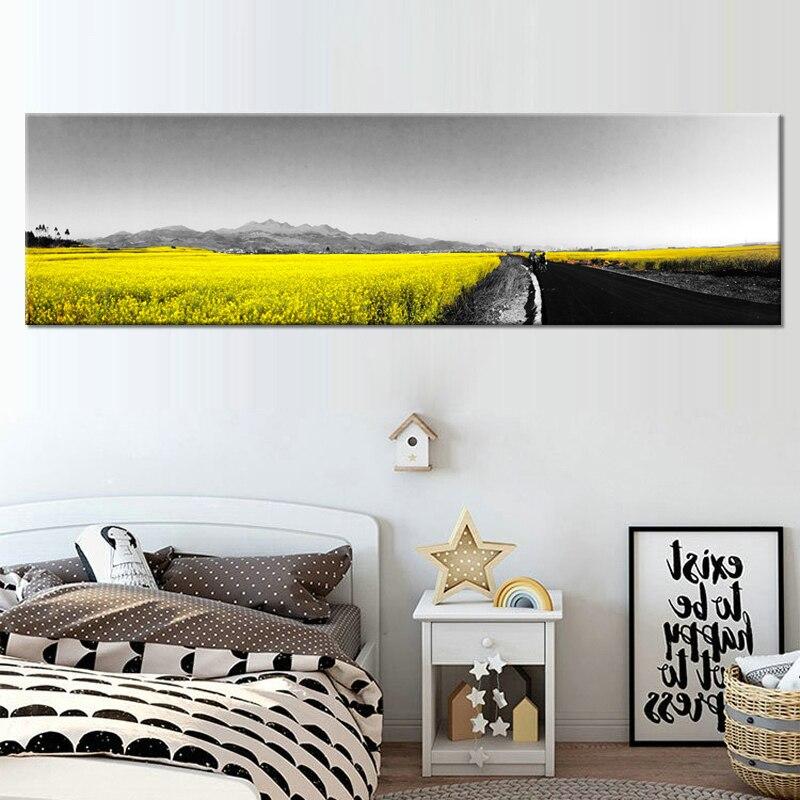 Moderne abstraite jaune fleur mur Art toile peinture à l'huile affiche mur toile photos pour salon décor à la maison cadre