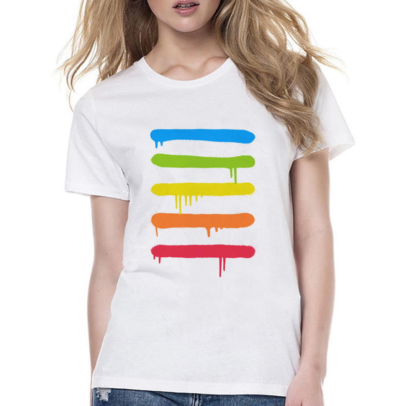 Rainbow Cool Lines Crazy summer fashion T-Shirt Women good quality tshirt kawaii print cool girl t shirt female Wyy511
