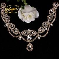 8.5*40.5 cm 1pcs Clear Crystal AB Diamond Sew On Rhinestone Applique Silver Base Sewing Wedding Dress Decorations
