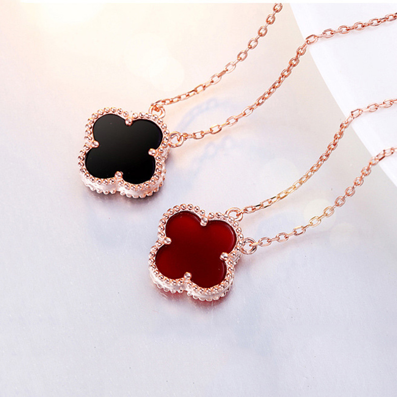 Trendy Cute Romantic 4 Color Lucky Clover Pendants Necklaces For Women Girl Rose Gold Exquisite Fashion Birthday Festival Gift