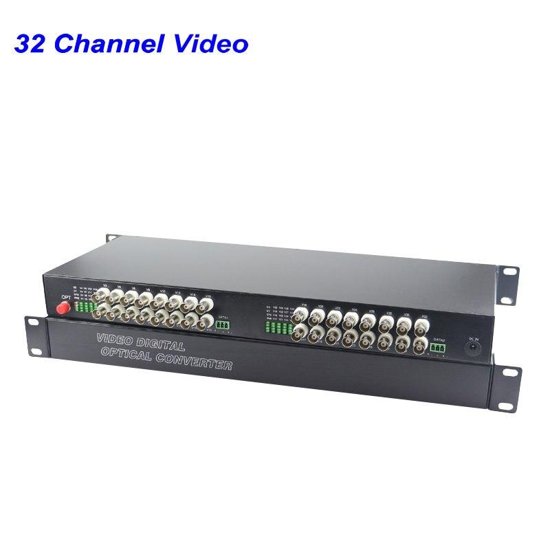 1 Pair 32 Channel Digital Video Fiber Optical Media Converters Extender Single Mode FC Fiber Optic Up To 20Km For CCTV Security
