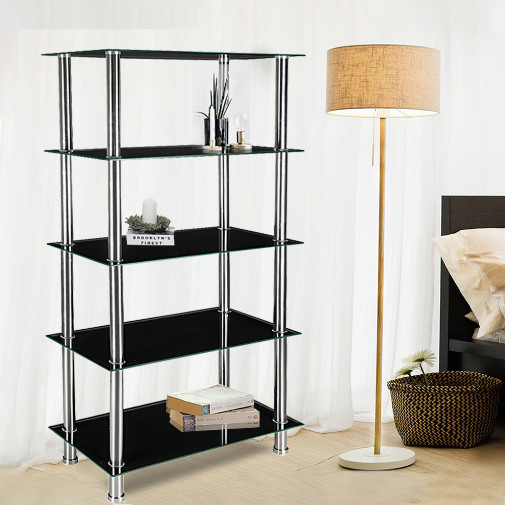 5 Tier Glass Shelf Unit Display Table Storage with Chrome Legs ...