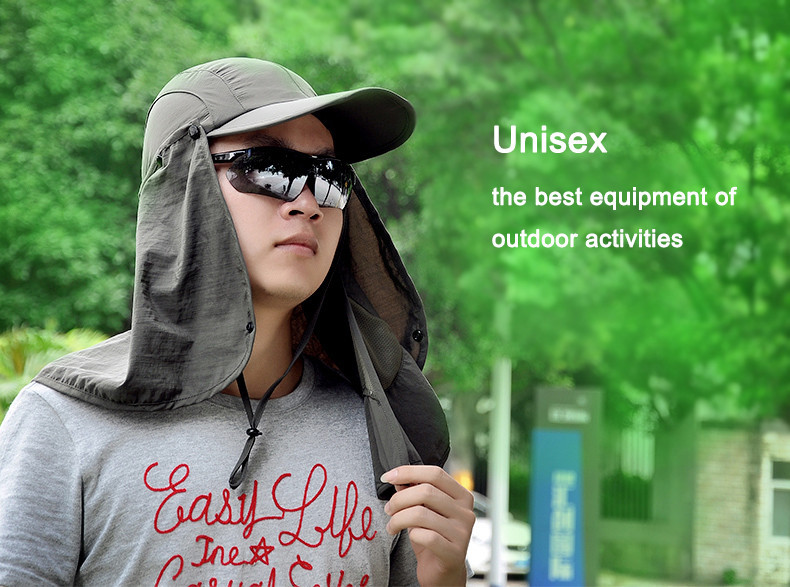 Уличная брендовая Рыбацкая походная Съемная Складная портативная Водонепроницаемая мужская шляпа-Панама женская шея с УФ-крышкой 7 цветов