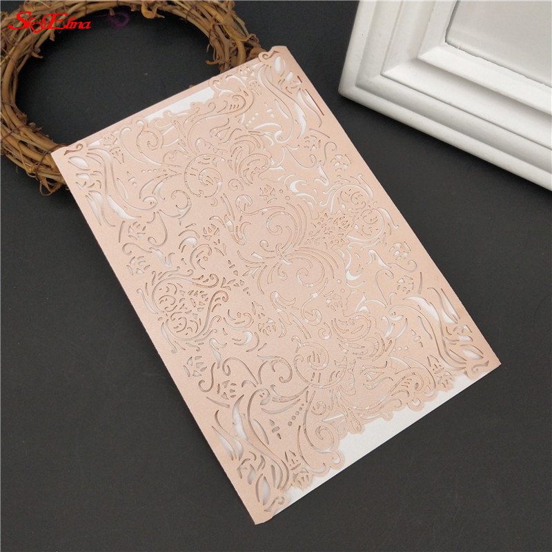 Cards & Invitations 10 Pcs Hollow Out Luxury Laser Cut Wedding Invitations Elegant Card Set Baby Shower With Ribbon Party Supplies Pink 6z Sh073 Good Companions For Children As Well As Adults