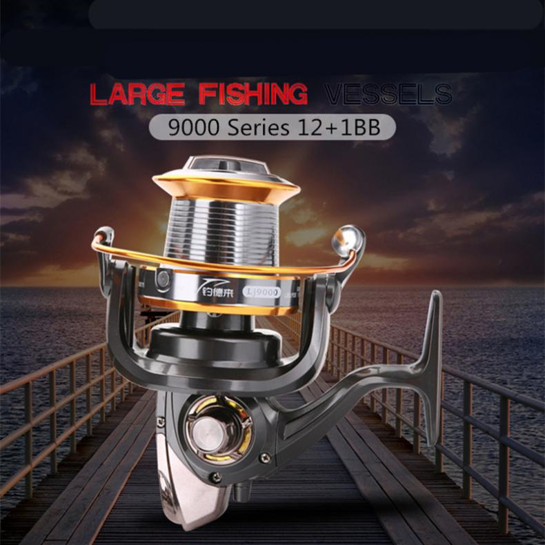 Image 4 - 9000 Series 12+1 Ball Bearings full Metal Spool Jigging Trolling Long Shot Casting Spinning Big Sea Left / right Fishing Reel-in Fishing Reels from Sports & Entertainment