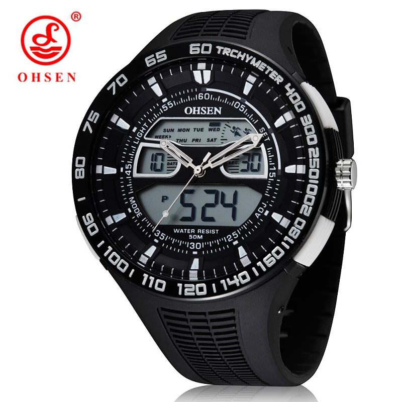 Dual Time Display Hand Watch Men Waterproof Quartz LED Army Military Sport Clock OHSEN Brand Quartz Wristwatch Relogio Masculino стоимость