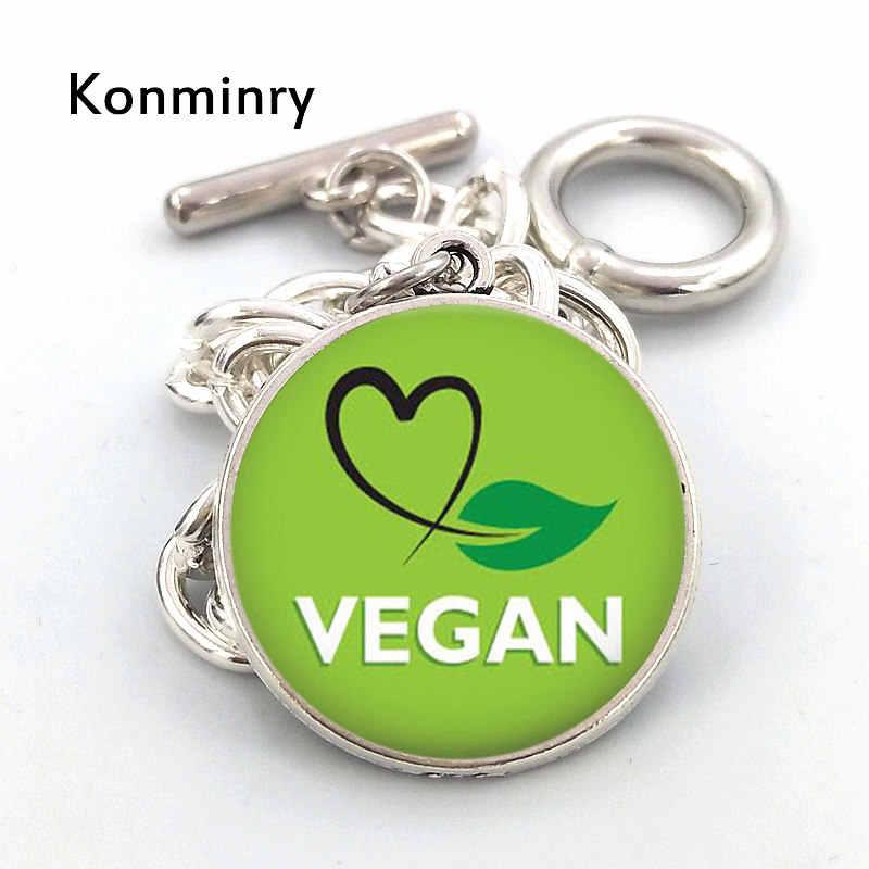 Konminry Vegan Diet Glass Cabochon Bracelet Green Heart Leaf Pattern Silver Chain Bracelet For Women Men Children Gift Jewelry