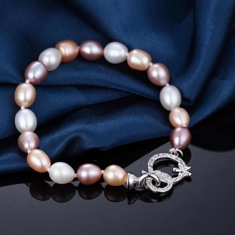 Красота цветок 8-9 мм натуральный пресноводный жемчуг браслет для Для женщин подарок, новинка 2017 года Белый розового и фиолетового цветов смешать Цвет Ювелирные украшения браслет