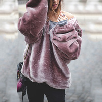 2018 Winter Womens Sweatshirts Warm Velvet Loose Pullover Oversized Hoodies Sweatshirt Ladies Hoodies Women Top Coat