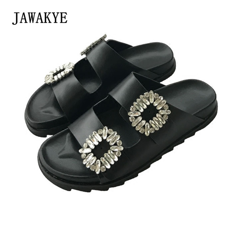 2018 New Rhinestone Squre Buckle Slipper Women Open Toe Diamond Open Toe Thick Bottom Summer Flat Casual Shoes Women Sandals women cork slipper flip flops sandals women mixed color bohemia thick bottom slides shoes open toe flat summer style plus size 8