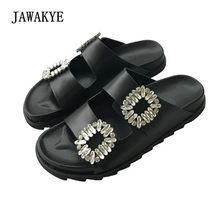 2018 New Rhinestone Squre Buckle Slipper Women Open Toe Diamond Open Toe  Thick Bottom Summer Flat Casual Shoes Women Sandals f37ab87512cc