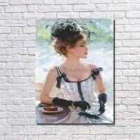 Biała Sukienka Klasyczne Piękno Kobiety Ręcznie Malowane Ściany Obraz Do Salonu Dekoracji Tanie Nowoczesne Obrazy Hurtownie