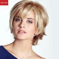 Esin المتوسطة منفوش الجانب فراق شقراء الاصطناعية الباروكات للنساء البيض أنيقة متعددة الطبقات جودة عالية قصيرة شعر مستعار