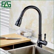 Flg черный картина Весна Пулдаун смеситель для кухни с одной Изливы и ручной душ кухня смеситель