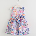 New Fashion Baby Girls Dress Ribbons Bow Infant Princess Dress 2017 Summer Sleeveless Flower Dresses for Girls Children Clothes