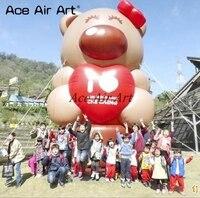 Открытый гигант украшения надувные медведь держит Красное сердце с воздуходувки для Святого Валентина рекламы