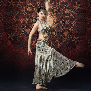 Image 5 - ATS Women Tribal Belly Dance Bra and Pant Chain Metallic Vintage Coins Gypsy Dance Tops Flare Trousers 2pcs Set Costumes