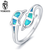 VOROCO New Pure 925 Sterling Silver Cute Dolphin Double Blue Opal Open Cuff Adjustable Ring For