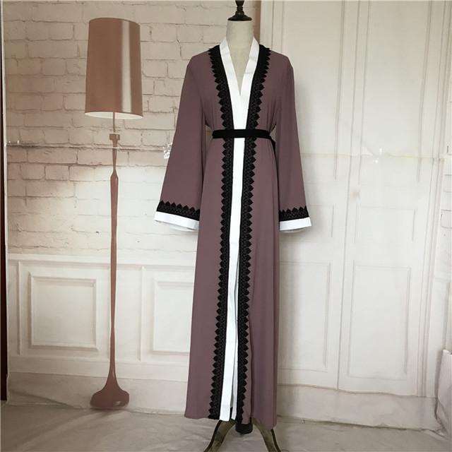 Más el tamaño 2017 Adultos de encaje emboridery algodón liene Robes Musulmane Turco Abaya Árabe Musulmán Túnicas Cardigan Servicio de Adoración Wj154