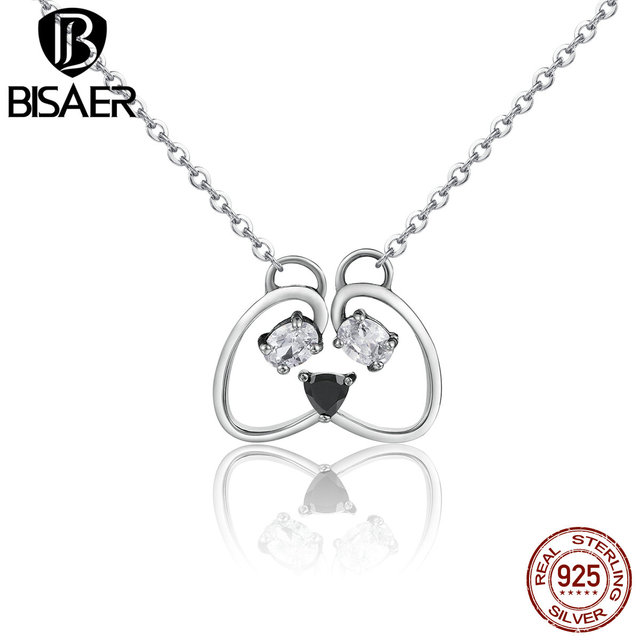 Bisaer real sterling silver 925 cute panda lovely animal dog bisaer real sterling silver 925 cute panda lovely animal dog pendants necklaces fashion jewelry ecn105 aloadofball Gallery