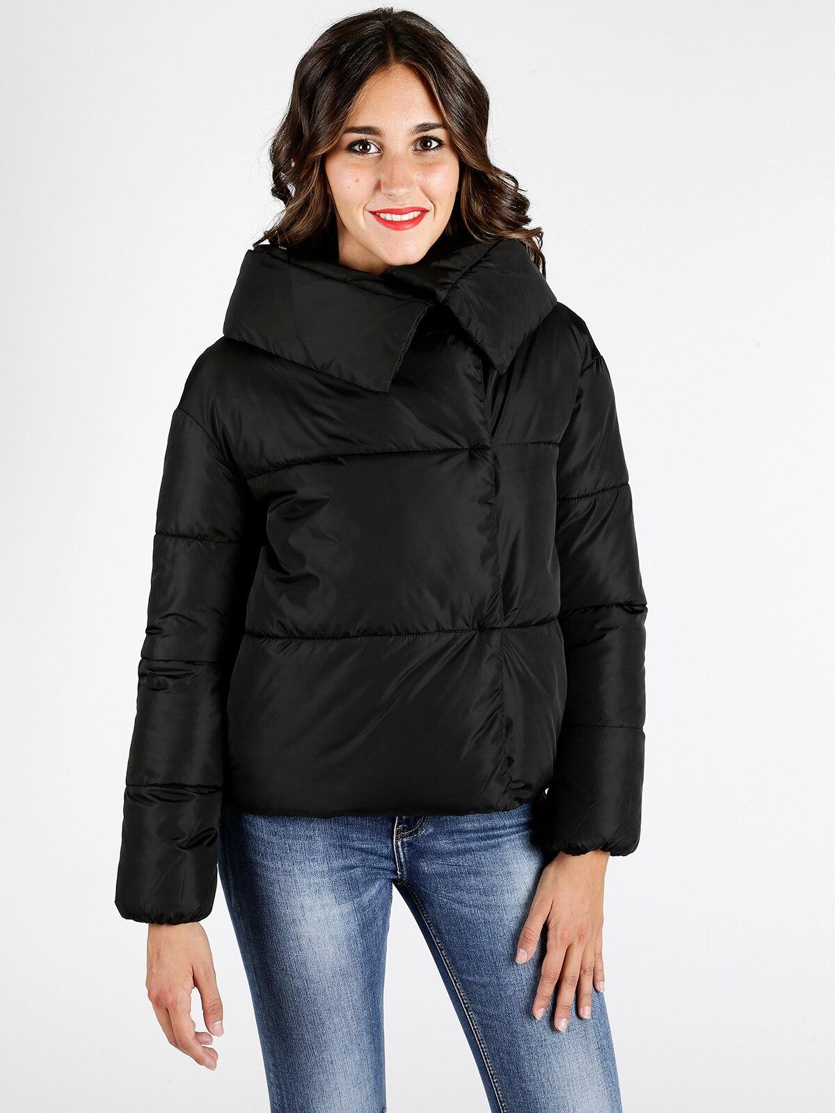 Femme noir coton single-breasted chaud veste manteau court