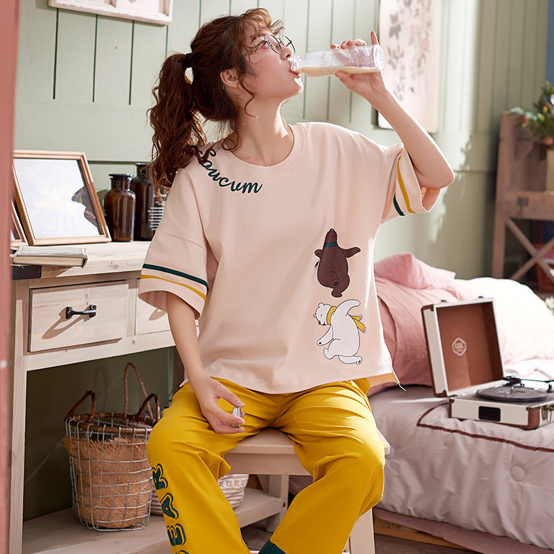 Image 3 - New Women Pyjamas Cotton Short Tops Set Female Pajamas Set NightSuit Sleepwear Sets Long Pants Night Home Clothes For Women-in Pajama Sets from Underwear & Sleepwears