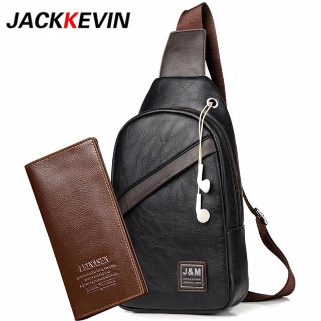 29d1540b5db JackKevin Famous Brand Waterproof Zipper Open Leather Mens Chest Bags  Fashion Shoulder Travel Crossbody Bag Man Messenger Bag