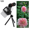 2017 Mobile Phone Lentes Kit 12X Zoom Telephoto Lens Telescope Camera Lenses Tripod Clips For iPhone Samsung Xiaomi Meizu Huawei