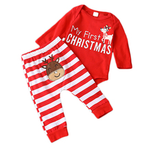 NEW Xmas Newborn Baby Boys Girls Christmas Romper Stripe Long Pants Clothes Outfits Set Red Overalls Infant Clothing 3-24Month