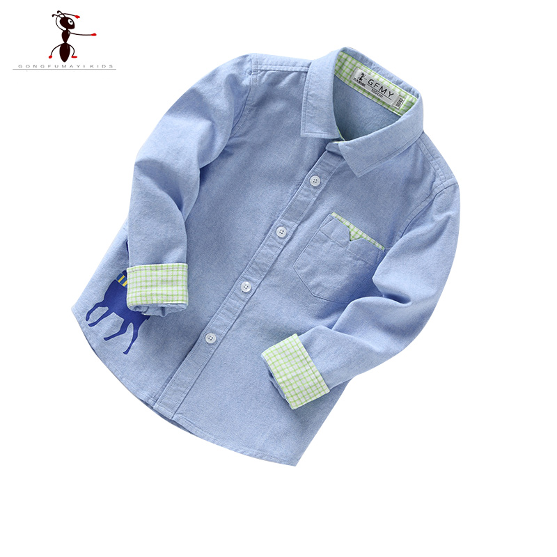 Oxford Cotton Boys Shirt Turn-down Collar Full Sleeve Casual Green White Pink Blue Yellow Camisa Infantil Menino Clothing 2352 classic turn down collar long sleeve yellow and black plaid shirt for men