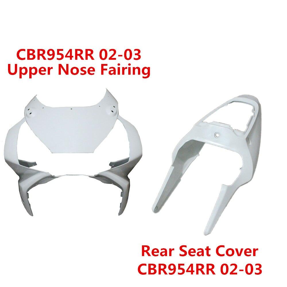 02-03 CBR954RR couvercle de siège arrière non peint/tête avant carénage de nez individuel carrosserie pour HONDA CBR954 RR CBR 954RR 2002 2003