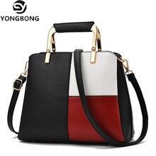 YONGBONG Women Handbag Fashion Black and White Patchwork Tote Bag High Quality PU Leather Shoulder Crossbody Bags